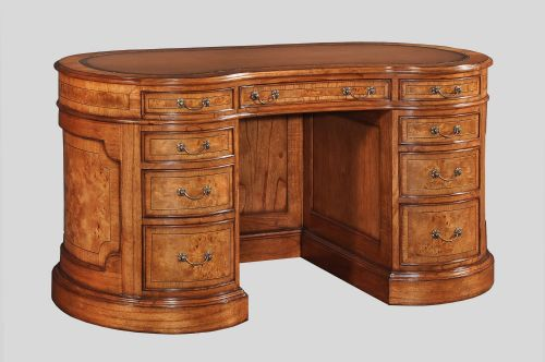 Kidney Large Writing Desk in Burr Walnut